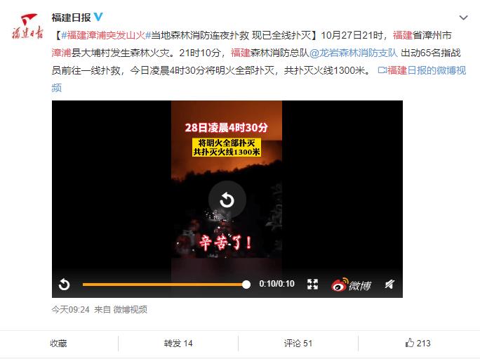 福建漳浦突发山火 当地森林消防连夜扑救 现已全线扑灭y.png